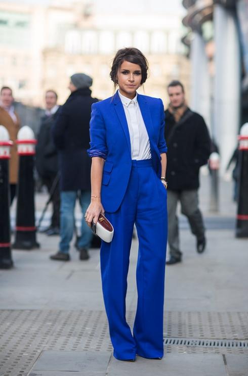 Miroslava Duma in blue suit - London Fashion Week