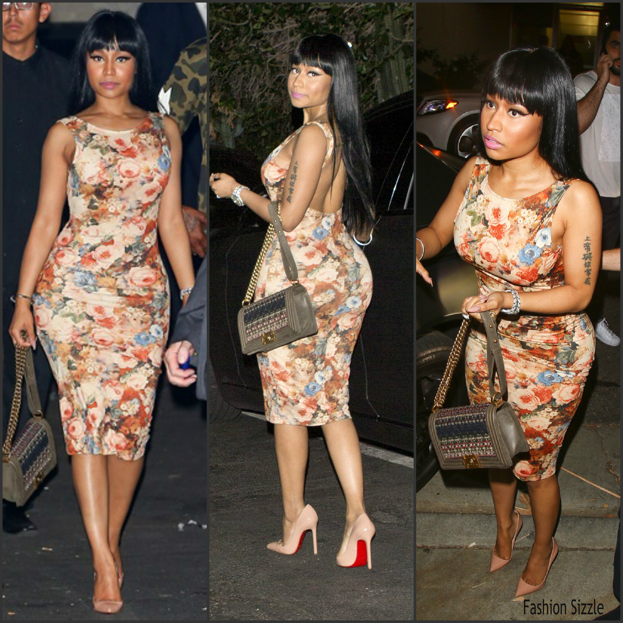 Nicki Minaj In Floral Dress 1oak In West Hollywood Ca Fashionsizzle