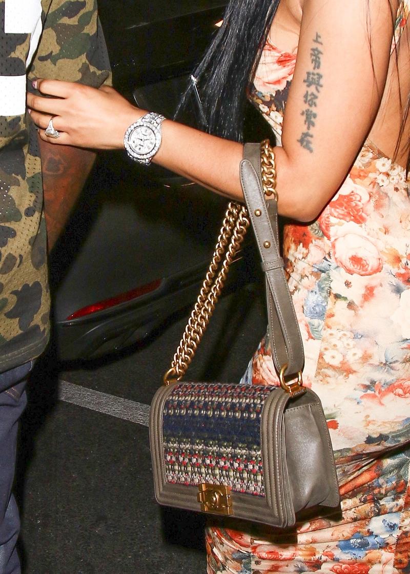 Nicki -Minaj- in fitted -floral -dress
