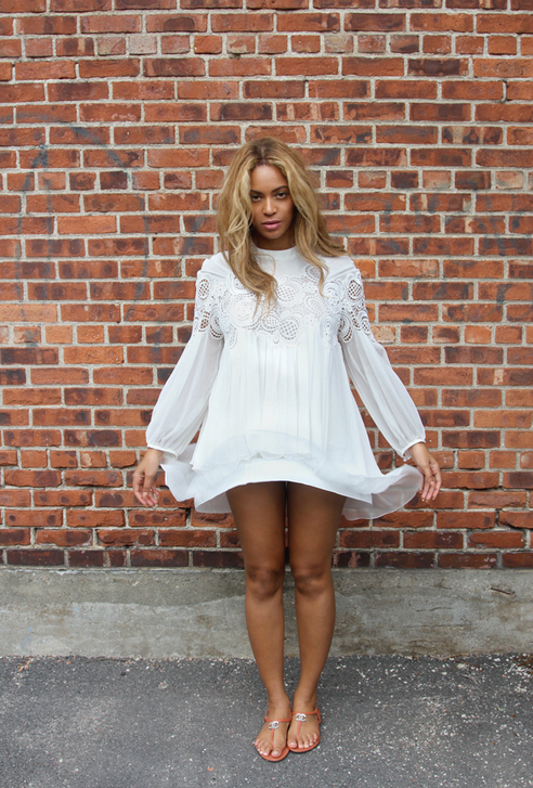 Beyonce-Birthday-Exclusive-for-Intermix-Lily-Blush-Pink-Long-Sleeve-Romper-Her-Chloe-White-Guipure-Lace-Silk-Crepon-Blouse-beyonce