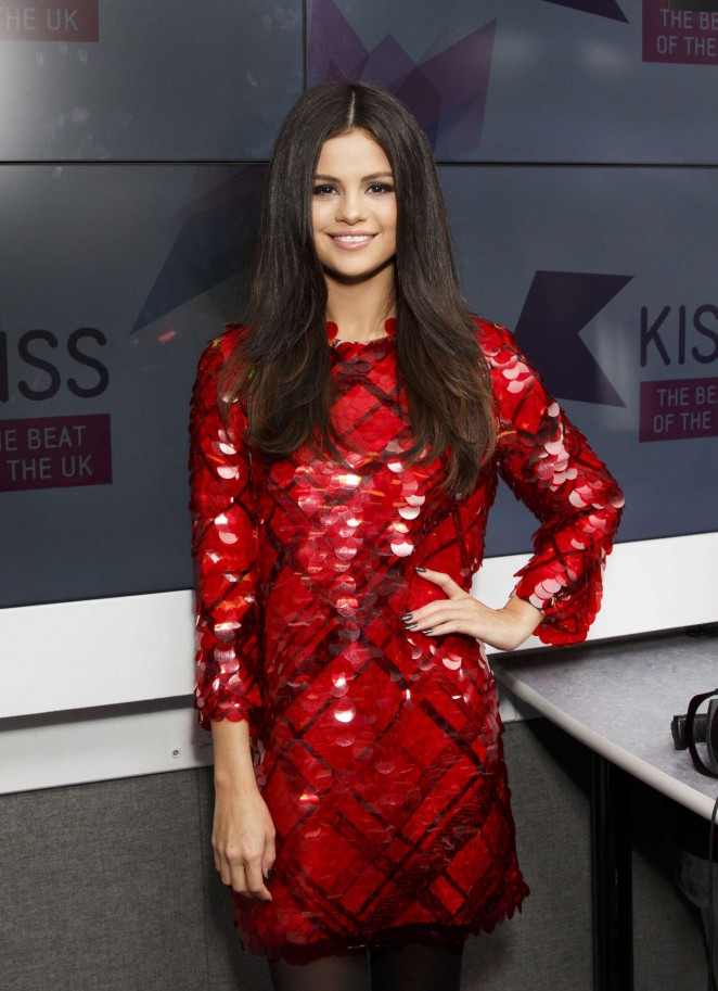 Selena-Gomez-in-Red-Dress-at-KISS-FM-Studios