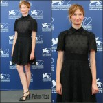 Alba Rohrwacher in Valentino at the 'Blood of My Blood' 72nd Venice Film Festival Photocall