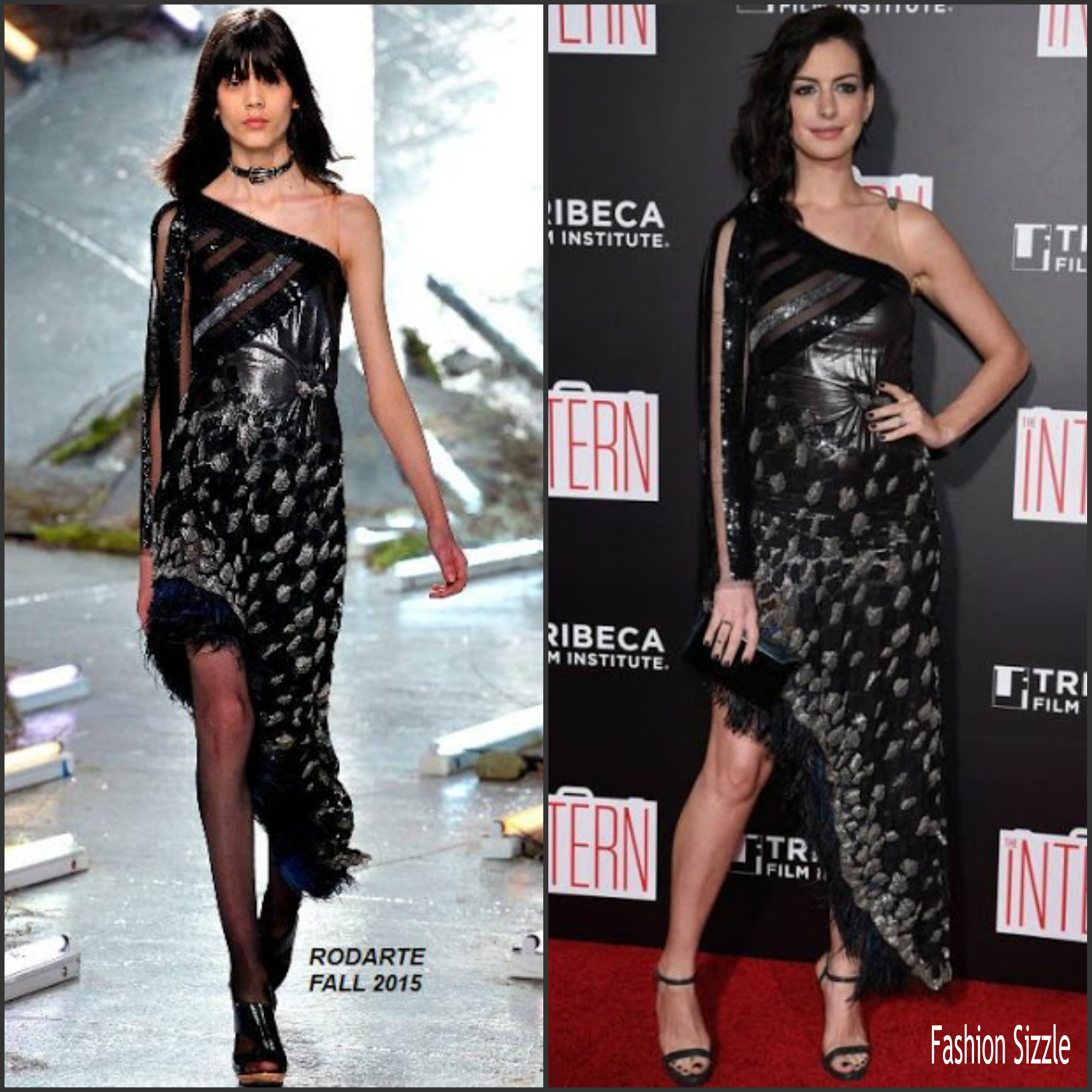 Anne Hathaway At The Hustle Premiere In Hollywood: Anne Hathaway In Rodarte At 'The Intern' New York Premiere