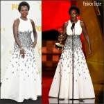 Viola Davis in  Carmen Marc Valvo –  2015 Emmy Awards