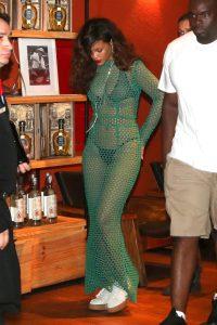 Rihanna in Green Mesh Dress in Rio de Janeiro