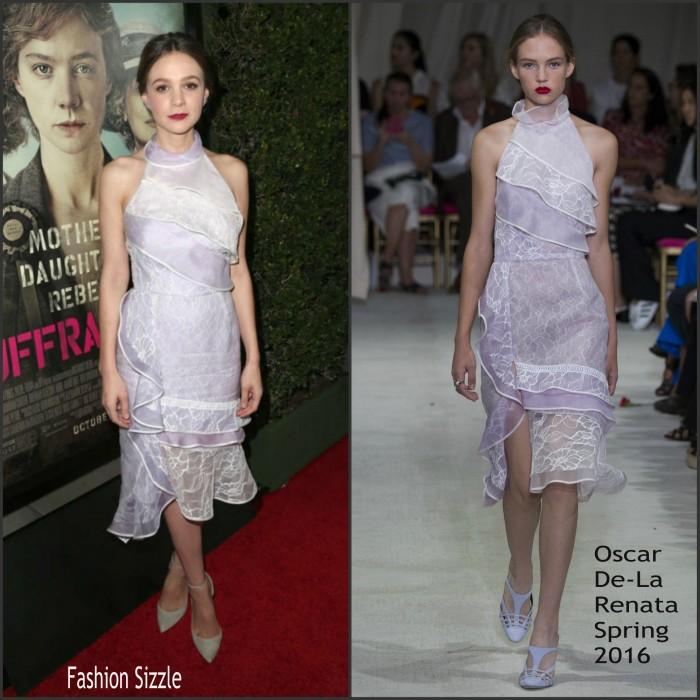 Carey Mulligan In Oscar de la Renta At 'Suffragette' LA Premiere