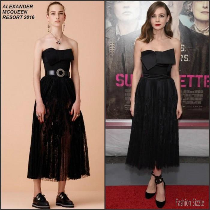 Carey Mulligan In  Alexander McQueen –  'Suffragette' New York Premiere