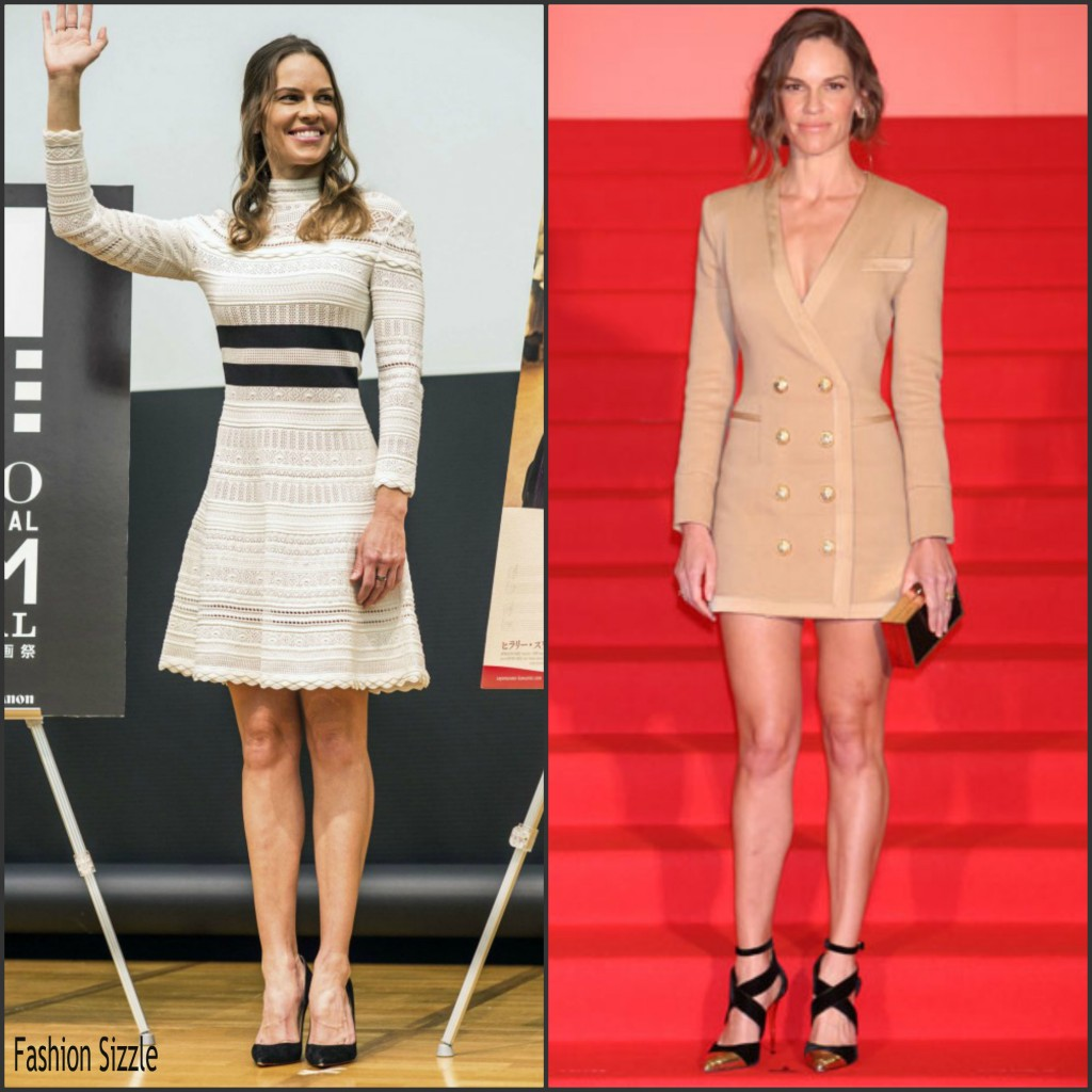 Hilary Swank In Alexander McQueen & Balmain At 'You're Not