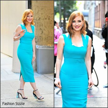jessica-chastain-arriving-at-live-with-kelly-michael-in-new-york