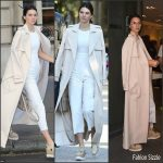 Kendall Jenner in  white jumpsuit- Out in Paris