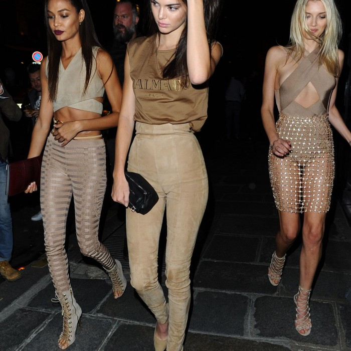 Kendall Jenner, Lily Donaldson & Joan Smalls – Leaving Costes Bar in Paris