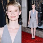 Mia Wasikowska In Alexander McQueen At Bergdorf Goodman 'Crimson Peak' Inspired Window Unveiling