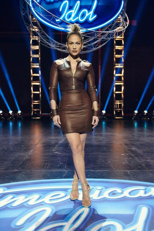 1-Jennifer-Lopez-Wears-August-Getty-Spring-2016-Chocolate-Brown-Leather-Dress-and-Giuseppe-Zanotti-Sandals-to-American-Idol-LA-Auditions-1