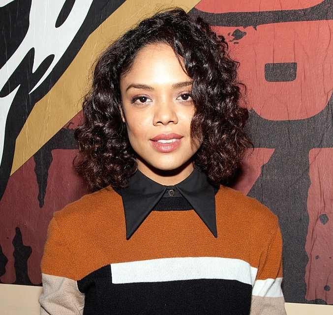 Tessa-Thompsons-Creed-San-Francisco-Mural-Unveiling-Michael-Kors-Resort-2016-Caramel-Intarsia-Top-and-Caramel-Black-and-White-Pleated-Skirt