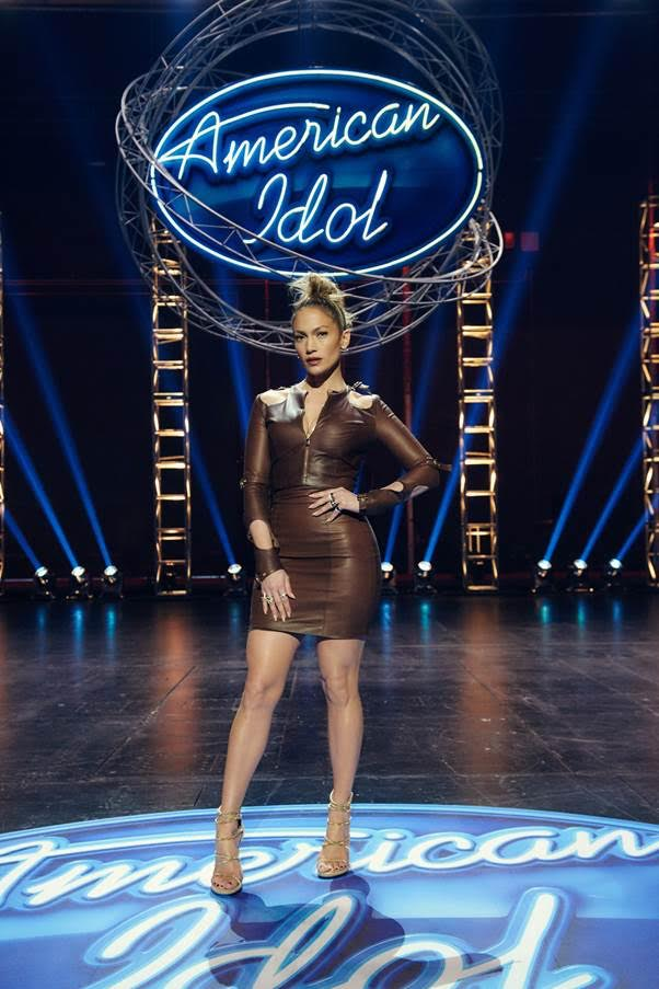 Jennifer-Lopez-Wears-August-Getty-Spring-2016-Chocolate-Brown-Leather-Dress-and-Giuseppe-Zanotti-Sandals-to-American-Idol-LA-Auditions
