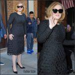 Adele  in black  dress  in New York