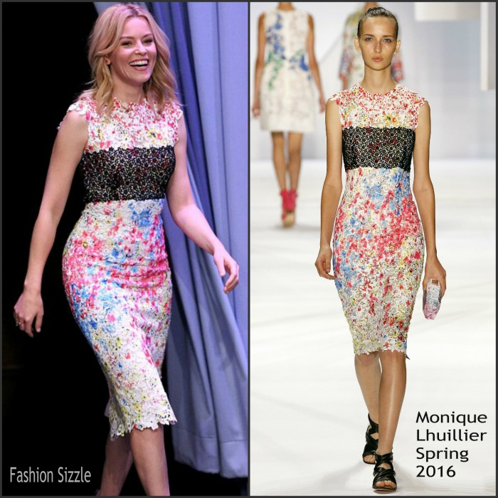 Elizabeth Banks In Monique Lhuillier  At The Tonight Show Starring Jimmy Fallon