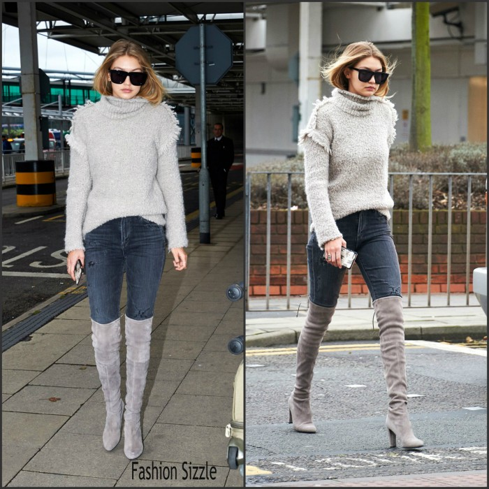 Gigi Hadid  spotted at Heathrow Airport in London, 11/30/2015