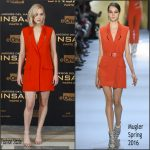 Jennifer Lawrence in Mugler  at 'The Hunger Games: Mockingjay – Part 2' Madrid Photocall