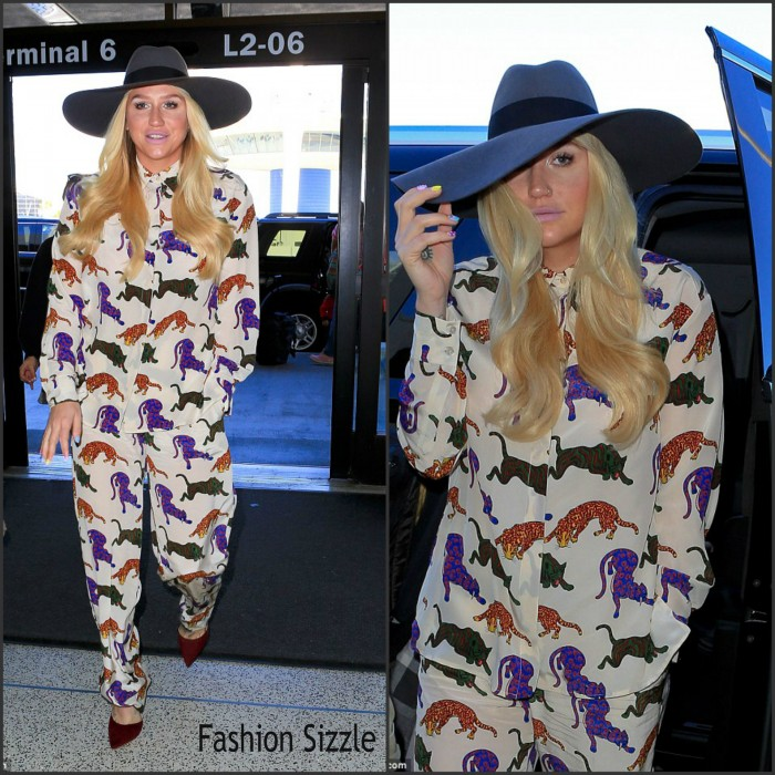 Keesha In Stella McCartney arriving at LAX Airport
