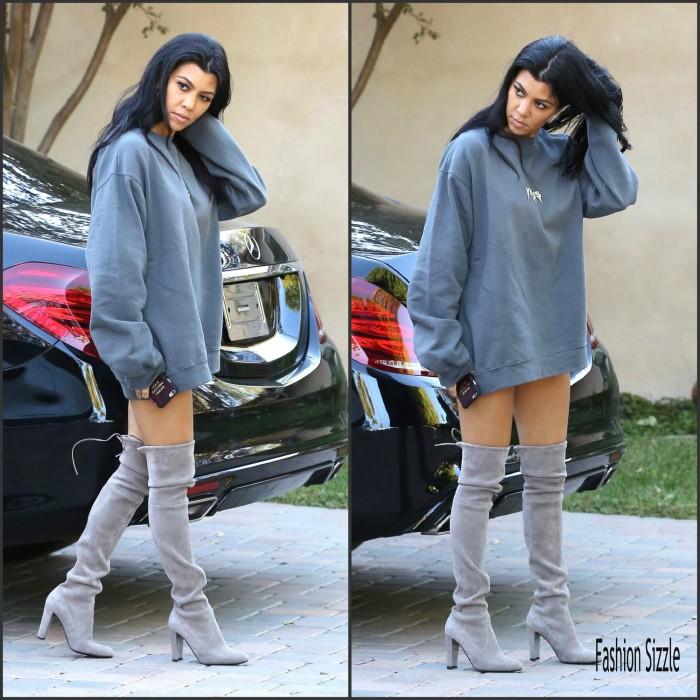 Kourtney Kardashian – Leggy in Thigh High Boots – Sherman Oaks, October 2015