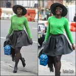 Lupita Nyong'o  In  Ralph Lauren  arriving at Joe's Public Theater In New York
