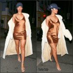 Rihanna  in satin dress– Leaving Giorgio Baldi Restaurant in LA, November 2015
