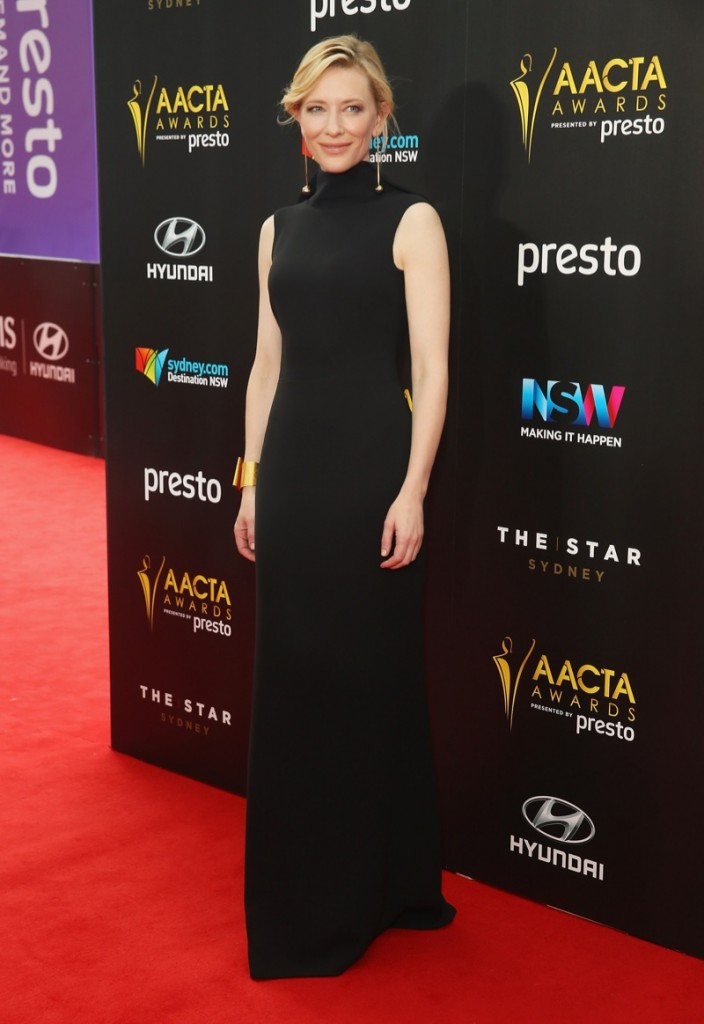 Cate-Blanchett-AACTA-2015-Awards-Long-Black-Armani-Dress