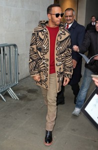 Lewis Hamilton In Louis Vuitton –  BBC studio in London