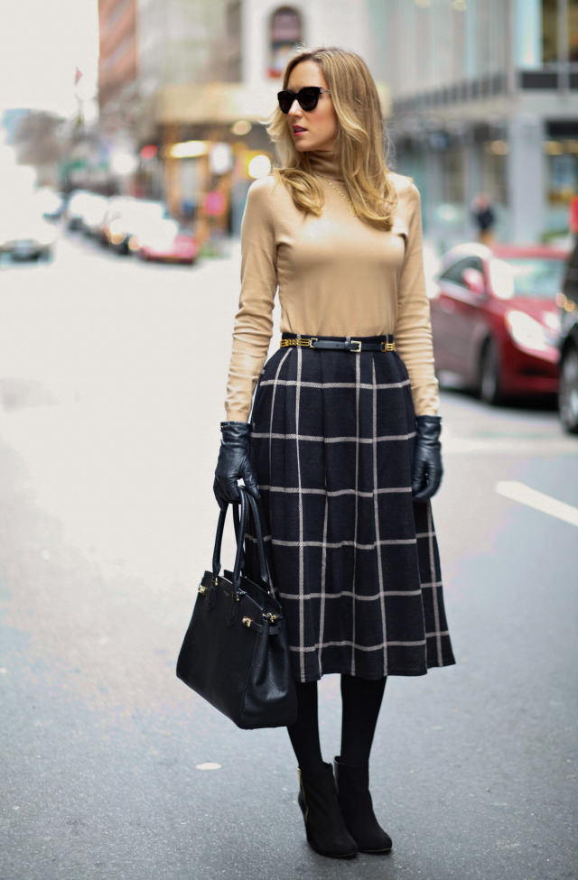 a3+black+camel+asos+full+skirt+turtleneck+reiss+chain+belt+coach+leather+gloves+ann+taylor+ankle+booties+suede+henri+bendel+carlyle+tote+monogram+necklace+fashion+blog+style+office+work+new+york