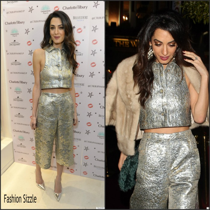 """Amal Clooney in Vintage Lanvin  -  Charlotte Tilbury's """"Naughty Christmas Party"""" in London"""