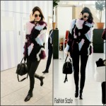 Kendall Jenner In  Elizabeth and James Bee Jacket – Heathrow Airport in London