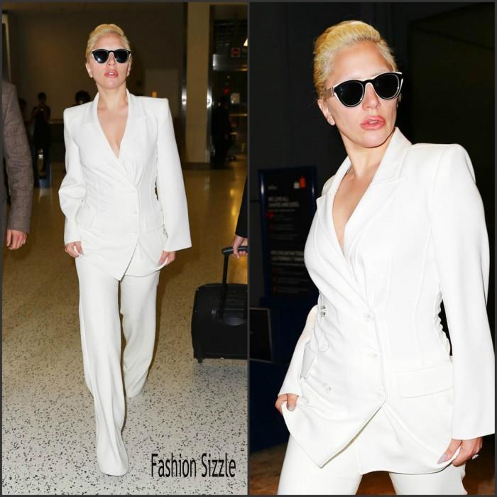 Lady Gaga   in white  suit  -  JFK Airport New York