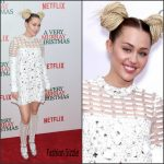 Miley Cyrus in Prada at the 'A Very Murray Christmas' New York Premiere
