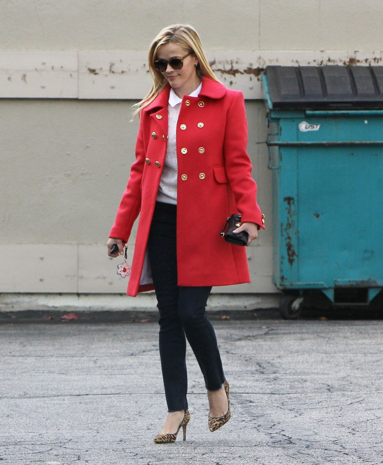 Reese Witherspoon In Draper James Coat Out In Beverly Hills Fashionsizzle