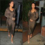 Rihanna  in  Awaveawake  slip dress– Leaving Giorgio Baldi Restaurant