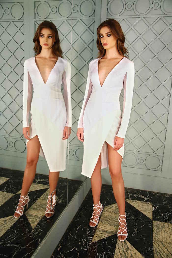 gabriela-cadena-resort-2016-white-deep-plunge-v-neck-asymmetrical-cut-long-sleeve-dress-1