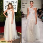 Lily James  In Marchesa – 2016 Golden Globe Awards