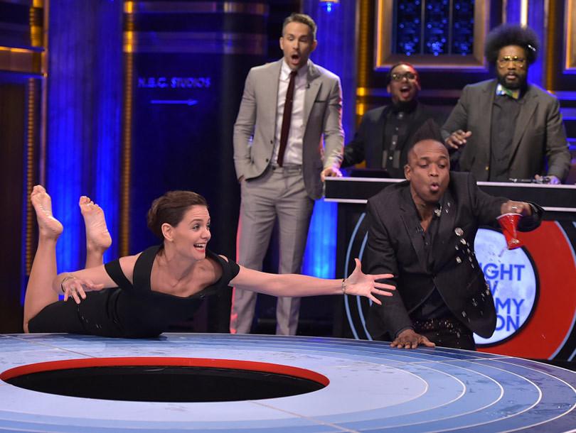 Katie Holmes in Zac Posen - Tonight Show with Jimmy Fallon