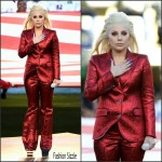 Lady Gaga in Gucci Singing the National Anthem at Super Bowl 50
