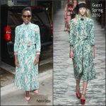 Lupita Nyong'o in Gucci Arriving at the AOL Studios