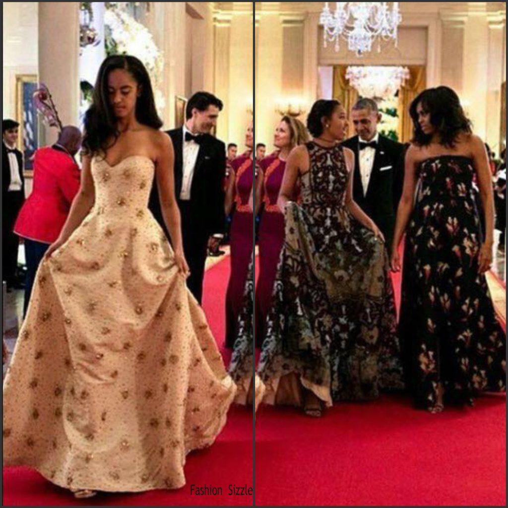 Sasha obama in naeem khan re 16 malia obama in prefall 15 on the white house 2016 xmas card canada state dinner