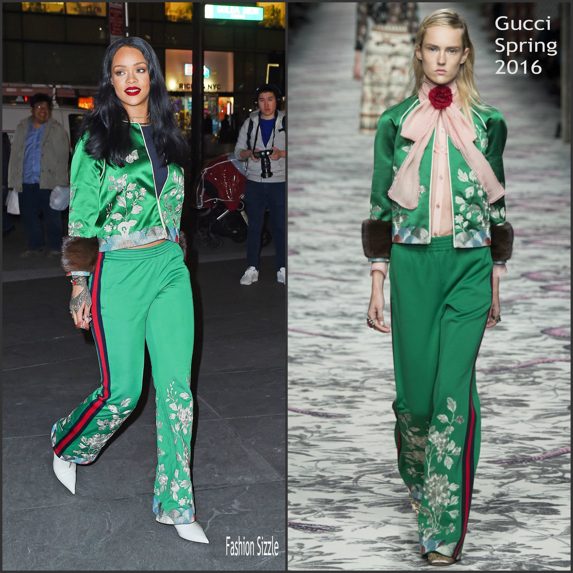 rihanna in gucci new york city fashionsizzle. Black Bedroom Furniture Sets. Home Design Ideas
