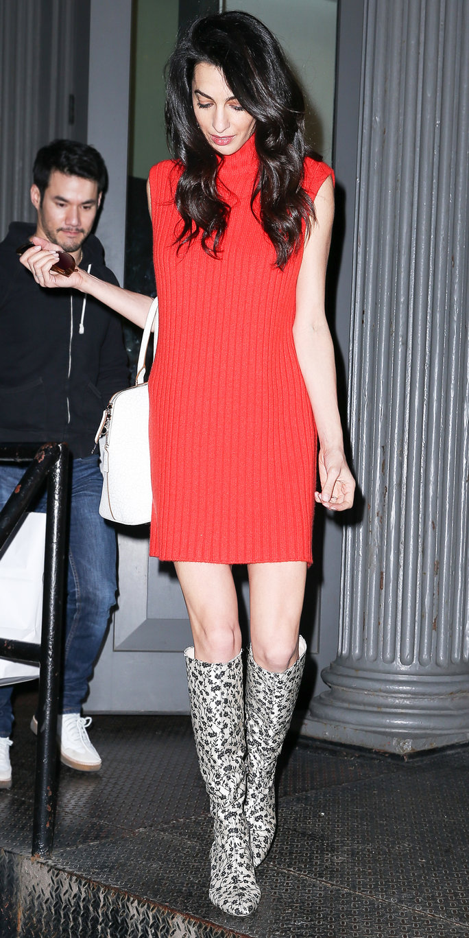 Amal -Clooney- steps- out -in a style wearing, mini red -dress -and -floral- boots -in -SoHo-New -York -City