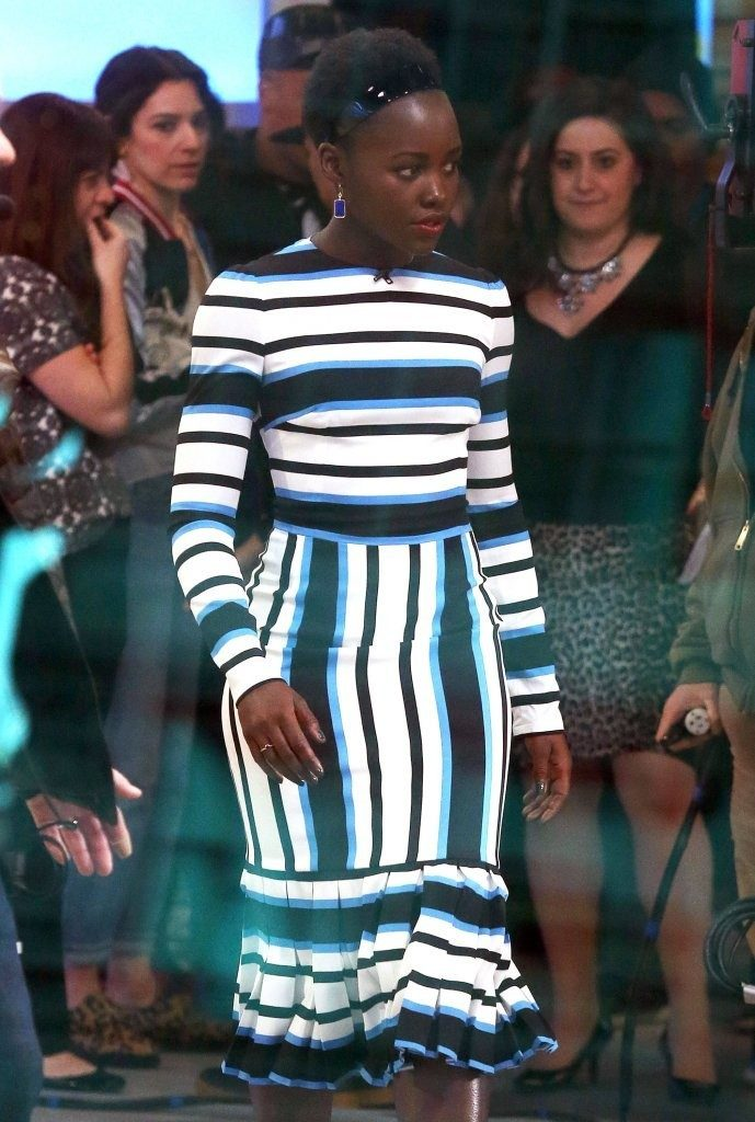 Lupita-Nyongo-Good-Morning-America-Blue-Black-and-White-Striped-Custom-Dolce-and-Gabbana-Midi-Dress-2