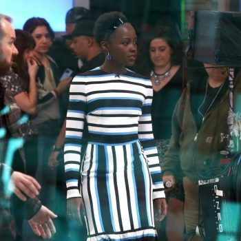 Lupita-Nyongo-Good-Morning-America-Blue-Black-and-White-Striped-Custom-Dolce-and-Gabbana-Midi-Dress-3-653×1024