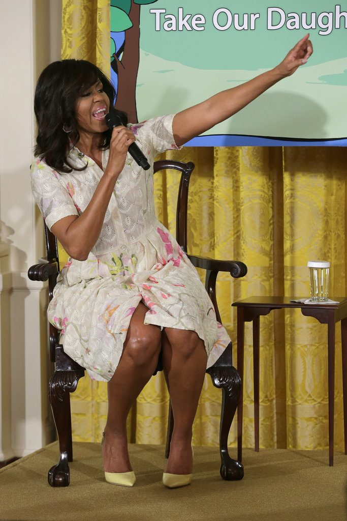 Michelle-Obama-White-Floral-Dress-April-2016