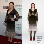 Emilia Clarke in Alexander McQueen at the REFUGEE Exhibit Opening