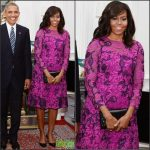 First Lady Michelle Obama in Oscar de la Renta at Windsor Castle
