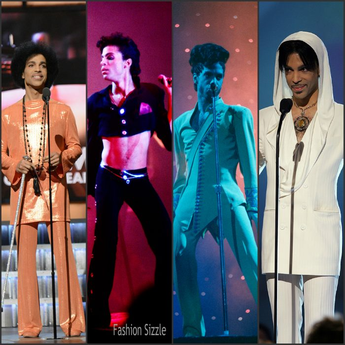 Prince won seven Grammys ,  sold over 100 million records worldwide, was inductee of the Rock and Roll Hall of Fame. He is also known for rocking a variety of hairstyles, high heels, high waisted pants, crop tops , lace and  sequin along with other styles . Below are some of Prince's iconic looks.